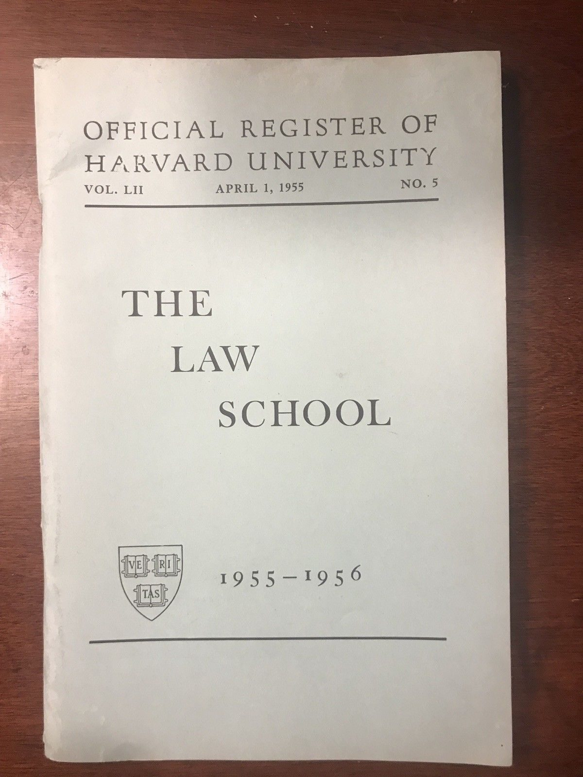 Vintage 1955-1956 HARVARD University Law School Official Register Booklet