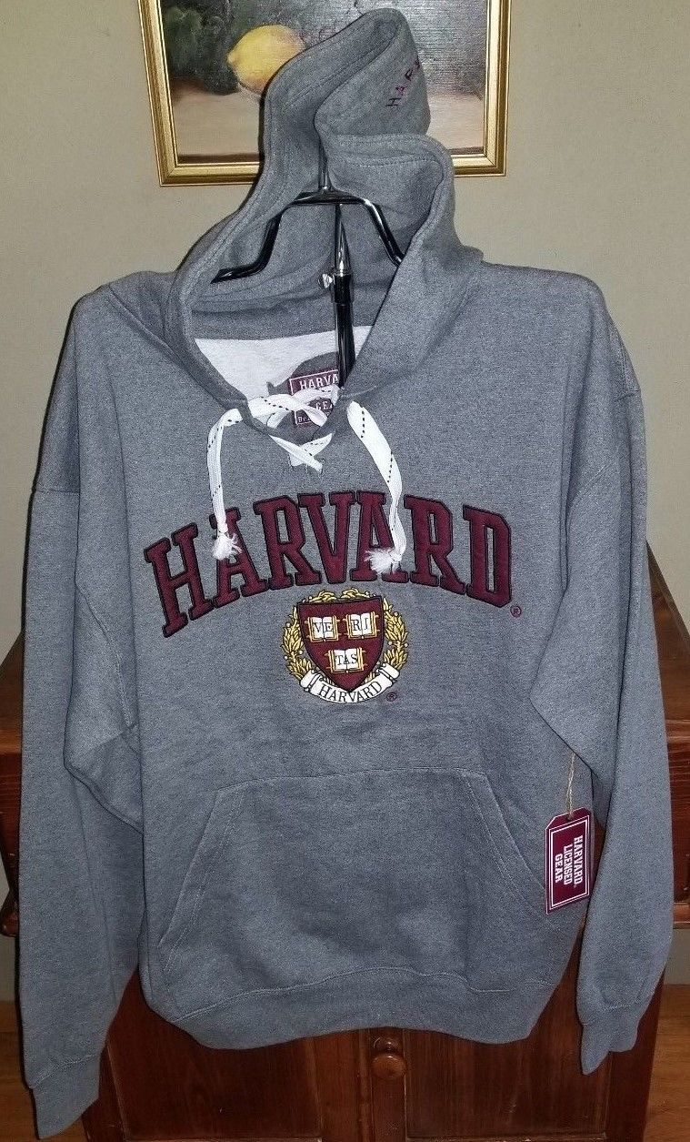 Harvard Officially Licensed Men's Heavyweight Embroidered Pullover Grey NWT