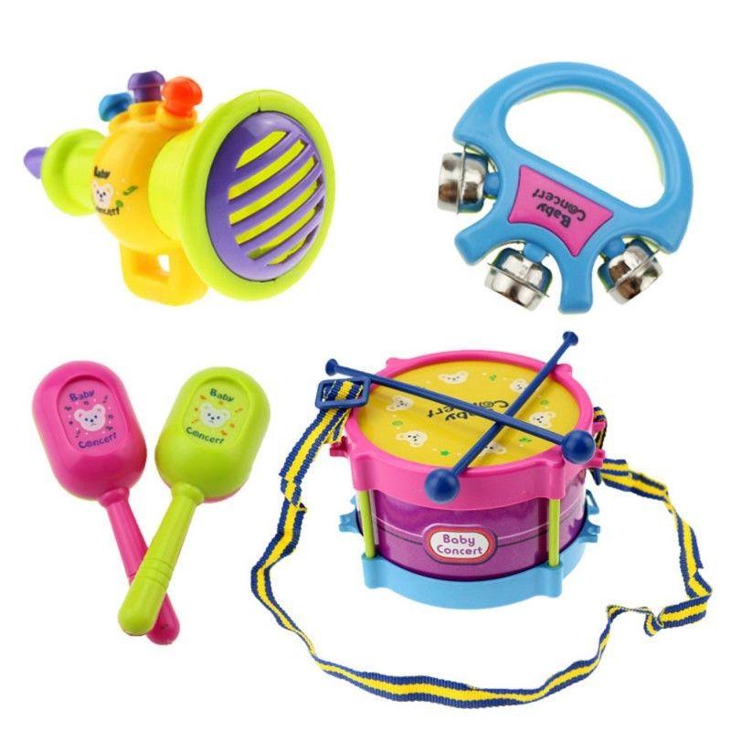 5pcs/Set Baby Kids Toddler Developmental Educational Toy Infant Drum Rattles Toy