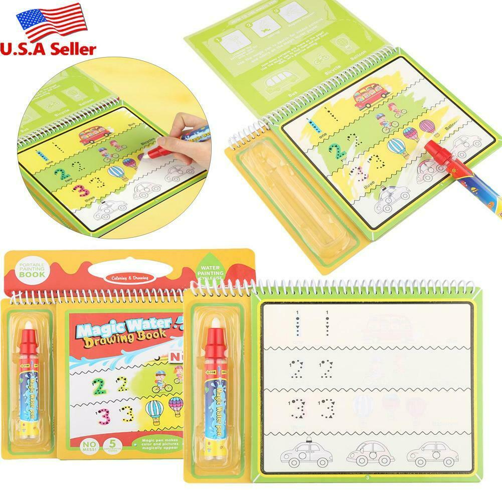 Water Coloring Drawing Book with Magic Pen Children Painting Educational Toy