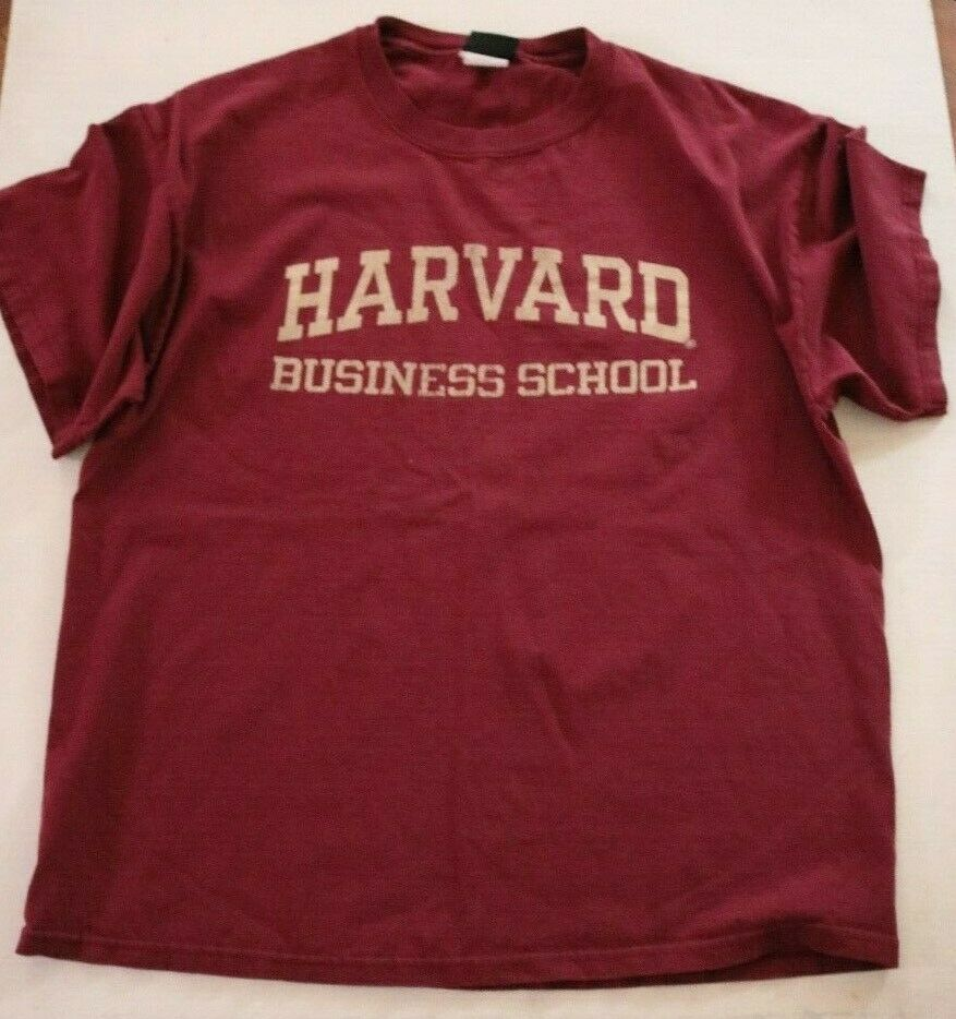 Vintage Harvard Business School Classic Graphic T Shirt Burgundy Men's Large