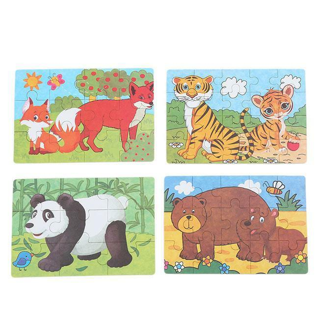 Cartoon Animal Wooden Puzzles Children Toddler Early Educational Toys Games LD