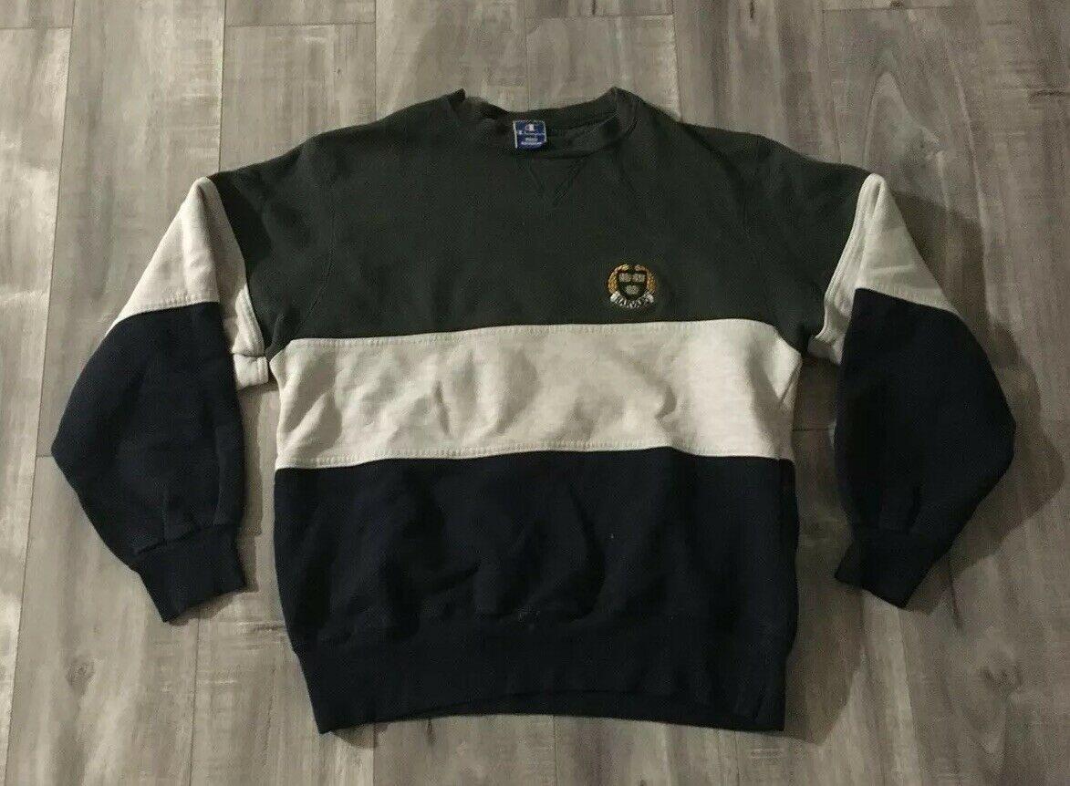 Vintage 90s Champion Tri Color Harvard Crewneck Sweatshirt Size Large