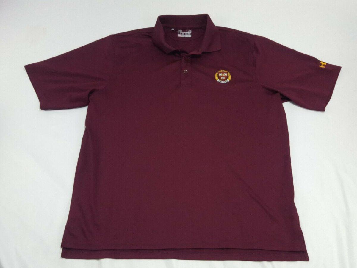 Under Armour HARVARD University Crest Burgundy Polo Shirt Men's Size Large Golf2