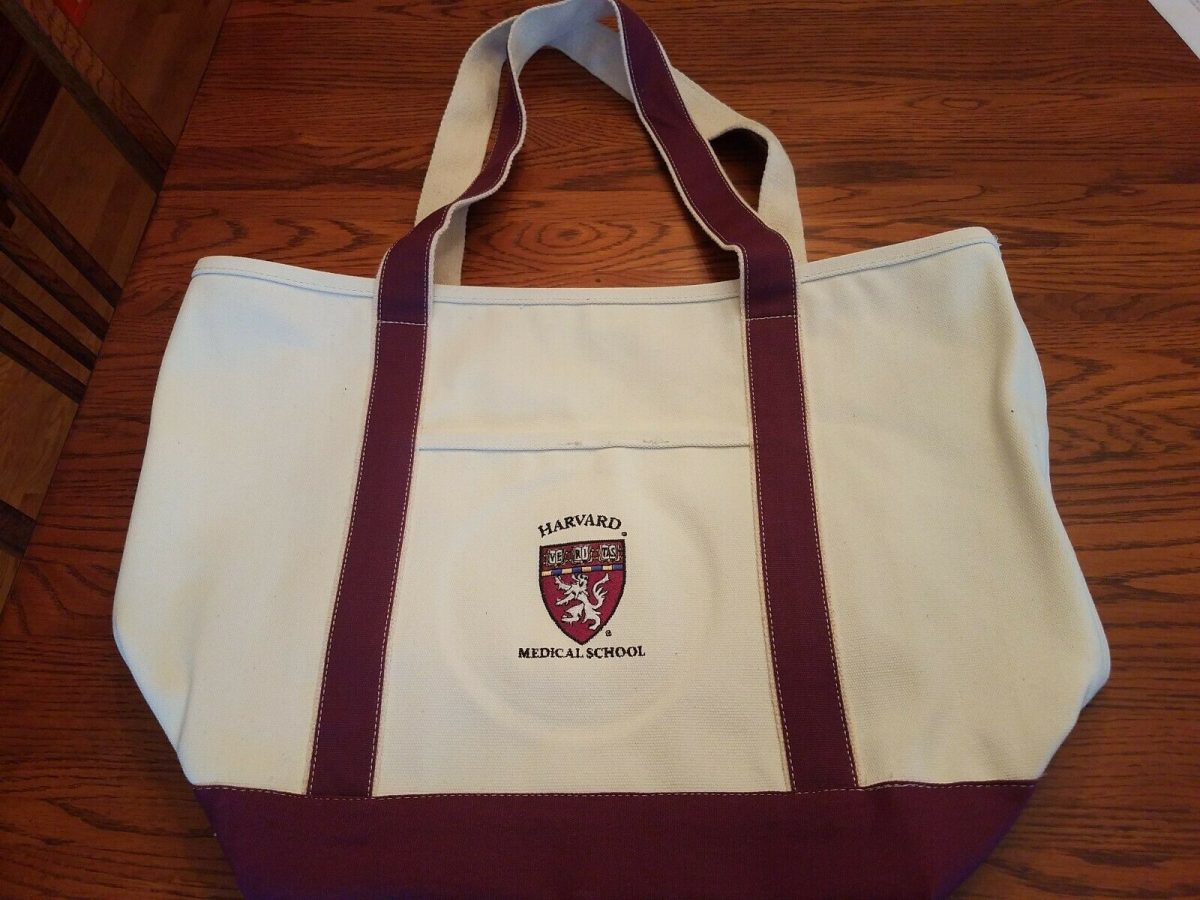 Harvard Medical School University Canvas Tote Bag NEW w/ Pockets Inside