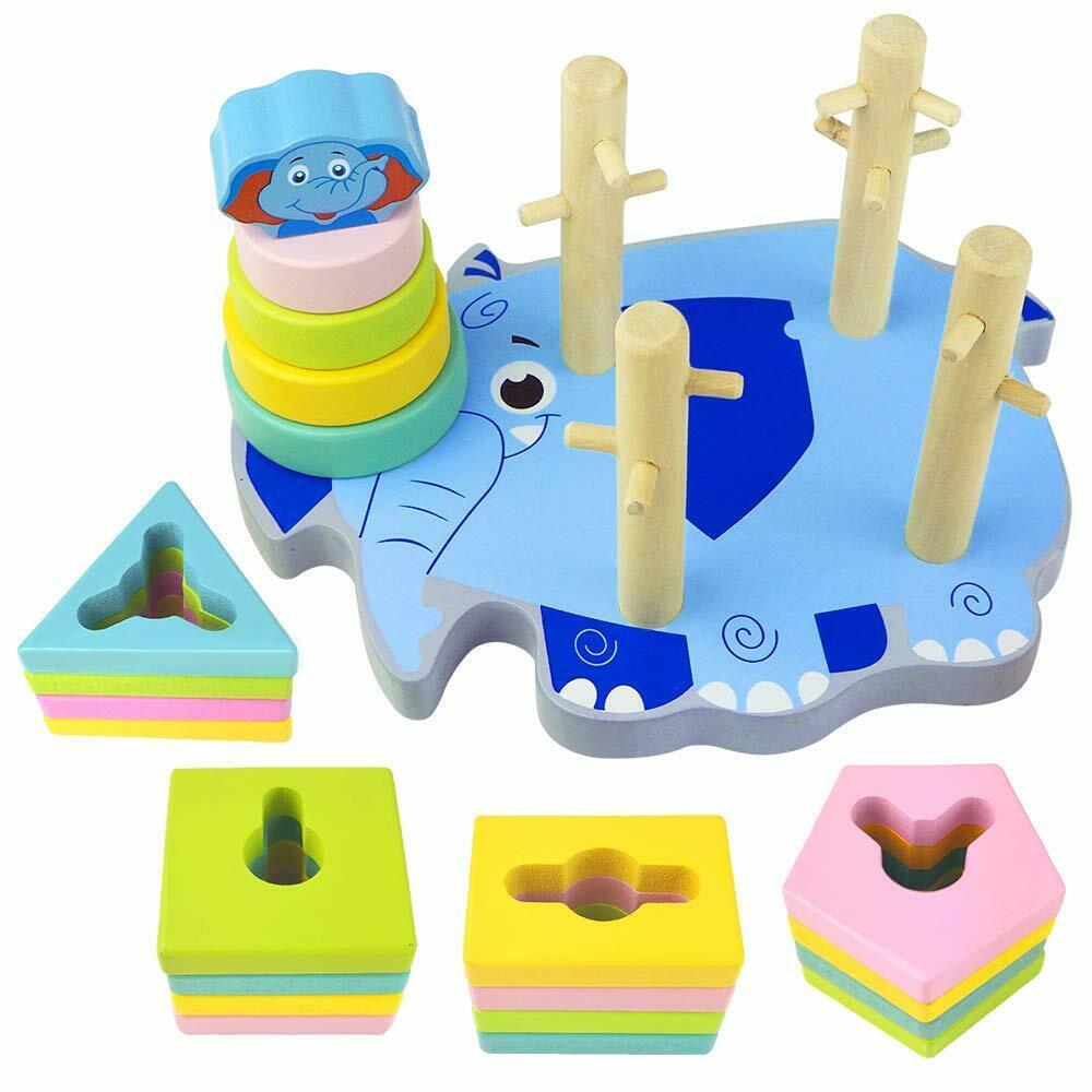 Shapes Blocks Stacks Puzzles Toddlers Educational Montessori Toys Preschool Game