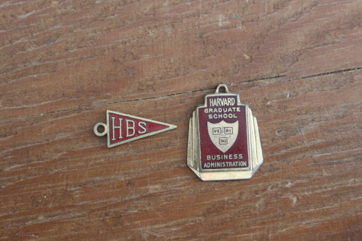 2 Vintage Harvard University Business School Enamel Medal Charm Pendant Fob