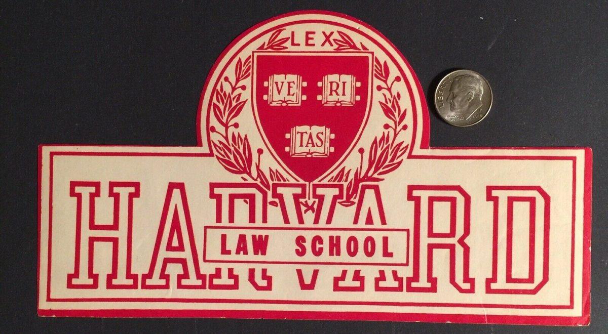 """Cinderella Sticker Label """"HARVARD LAW SCHOOL"""" Vintage 1"""
