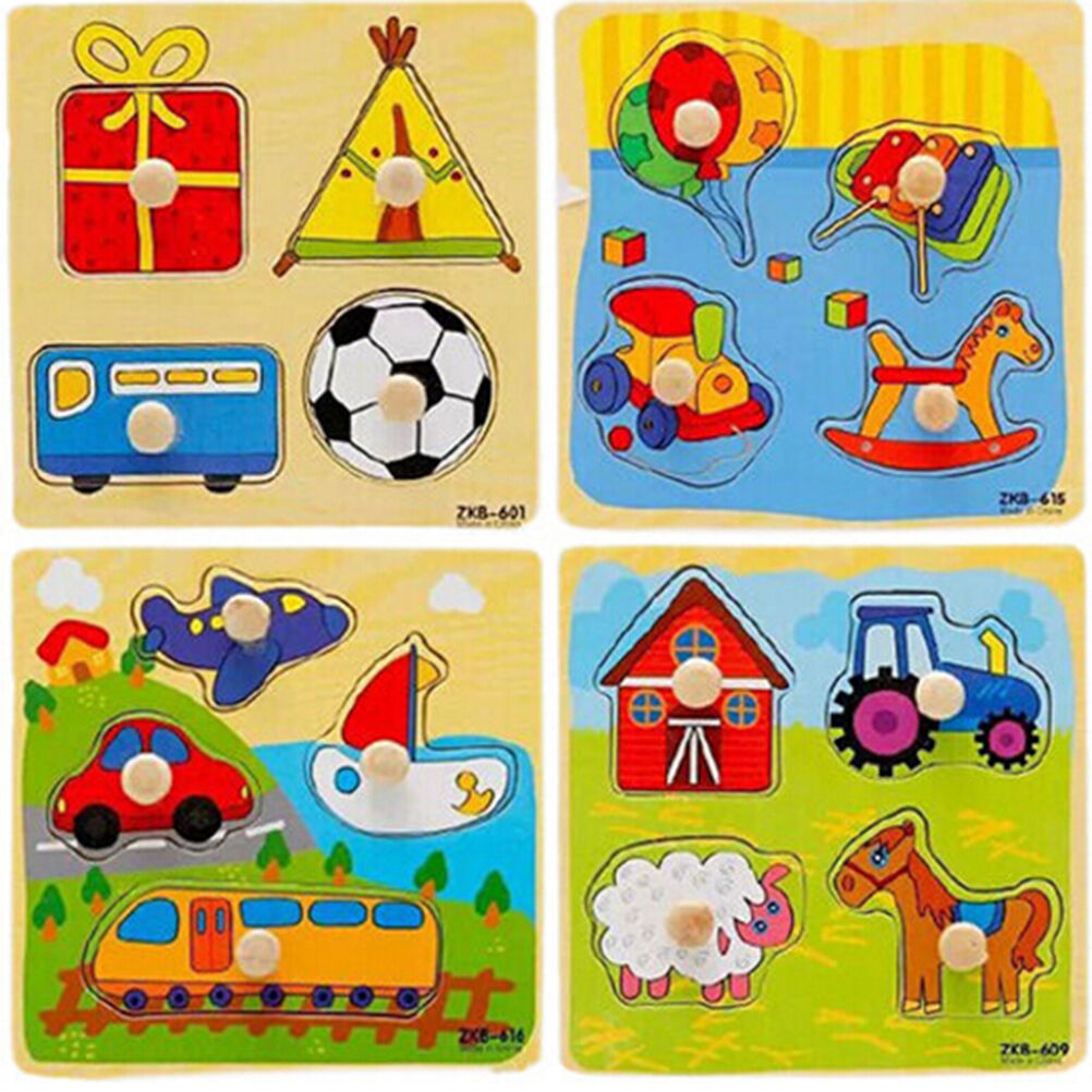 Adjustable Wooden Colorful AnimalBrick Puzzle Baby Kid Toddler Educational Toyw/