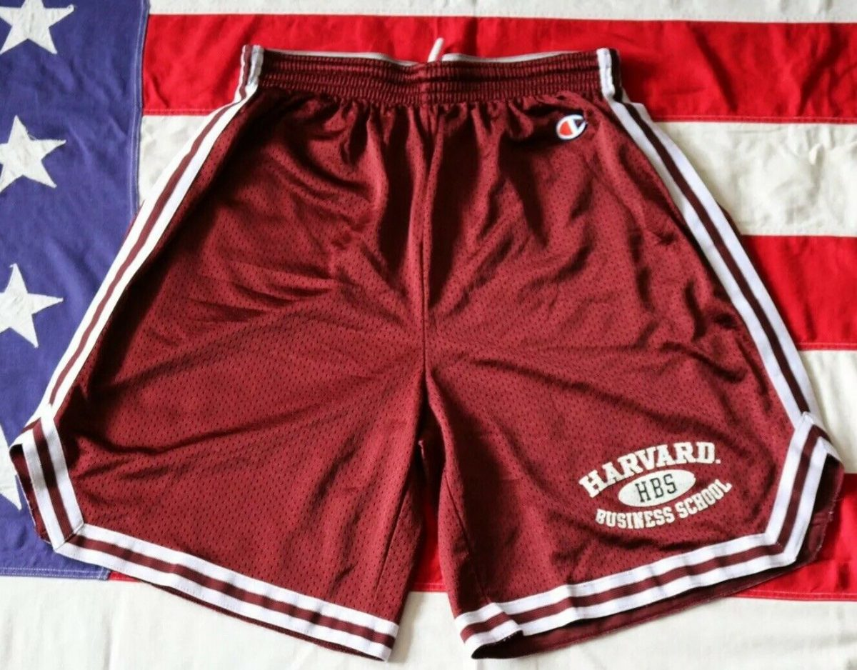 RARE! VINTAGE HARVARD BUSINESS SCHOOL CHAMPION LARGE SPELL OUT BASKETBALL SHORTS