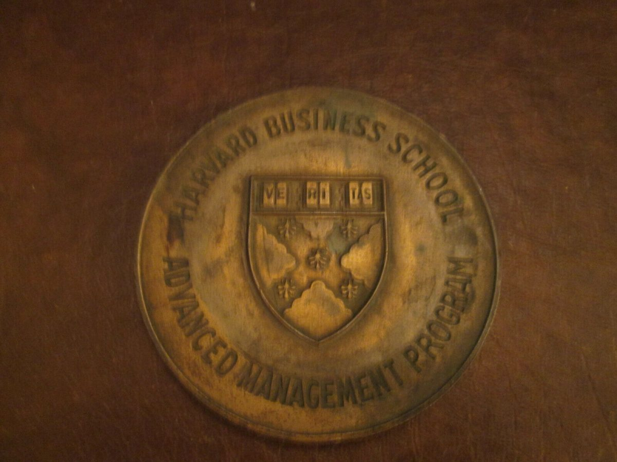 Harvard Business School Advanced Management Program Lockheed Brass Paper Weight