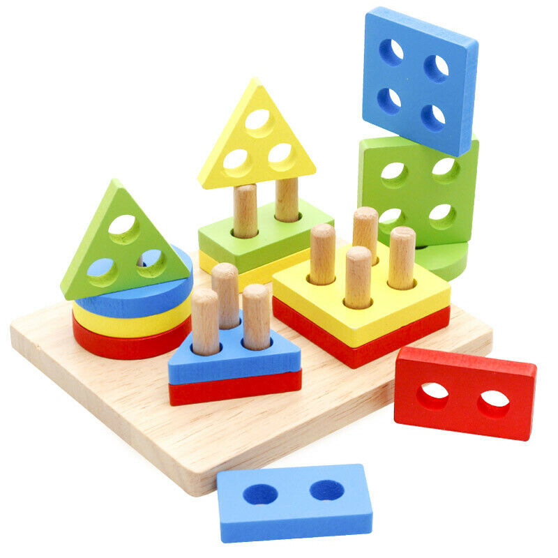Wooden Puzzle Toddler Toys Shapes Sorter Preschool Geometric Educational Toy 1