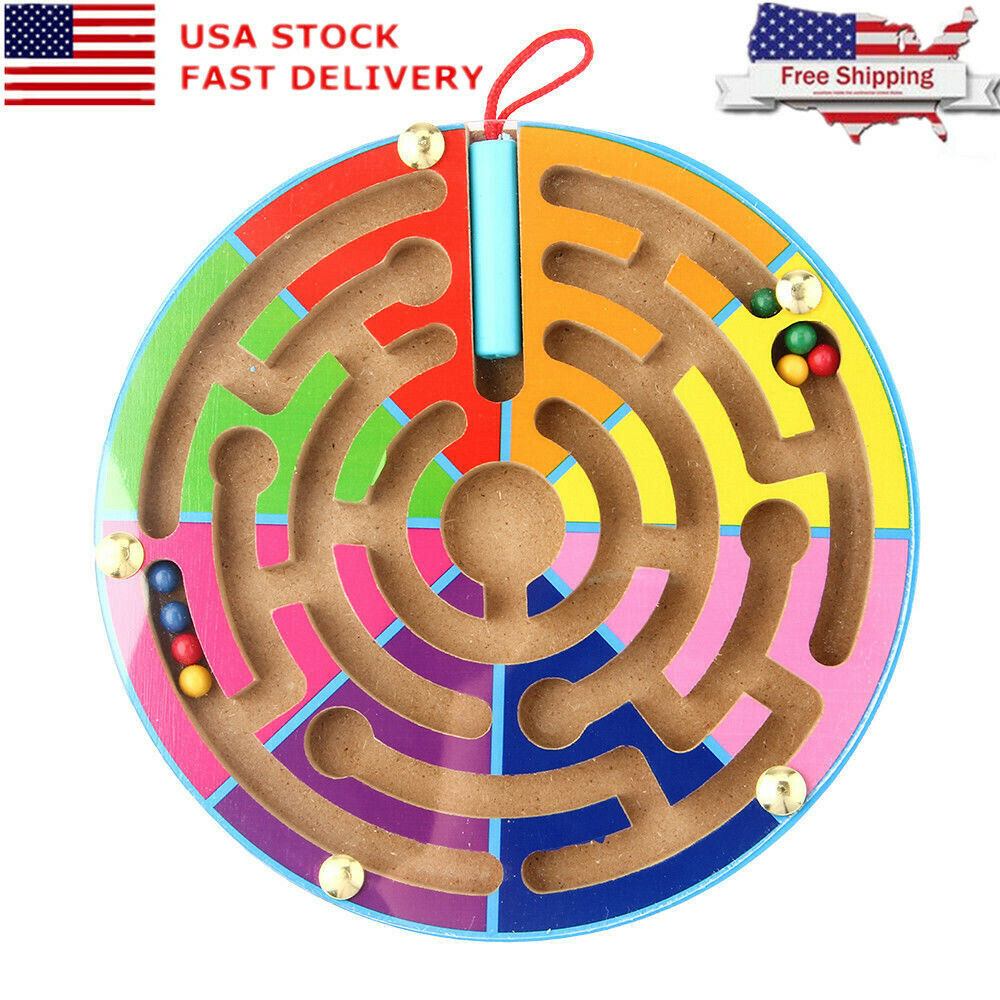 1*Wooden Maze Magnetic Educational Puzzle Game Board Learning Toys for Baby Kids