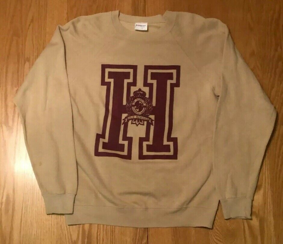 Vintage 80s Harvard University Crimson Tan Crewneck Sweatshirt L