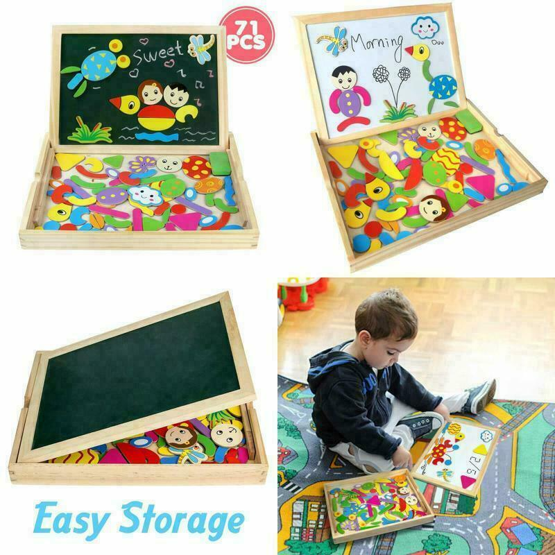 Easel Educational Toys Wooden Magnetic Drawing Board Jigsaw Puzzles Montessori