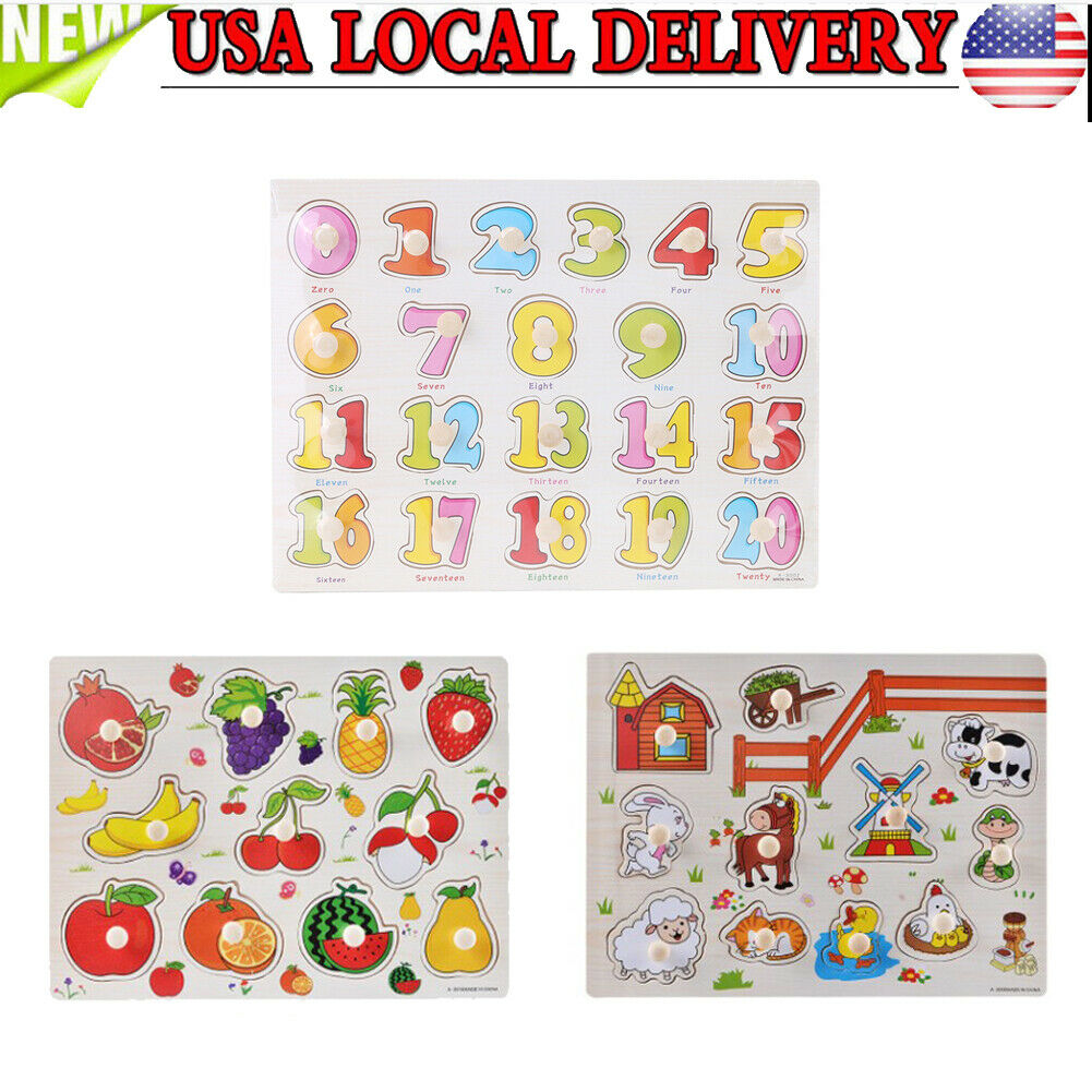Knob Kids Baby Wooden Animal  Fruit Puzzle Numbers Learning Educational Jigsaw