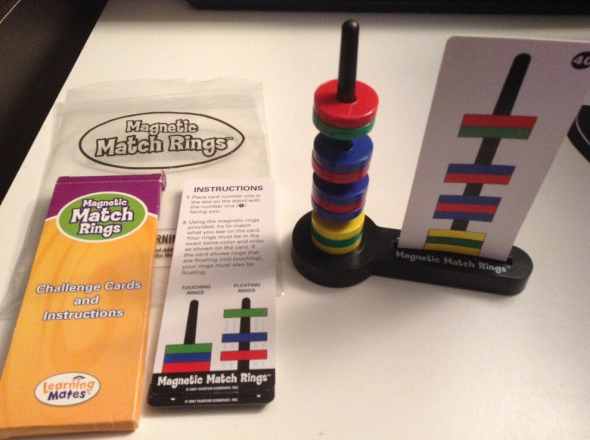 Magnetic Match Rings STEM Educational Game EUC Includes 40 Challenges