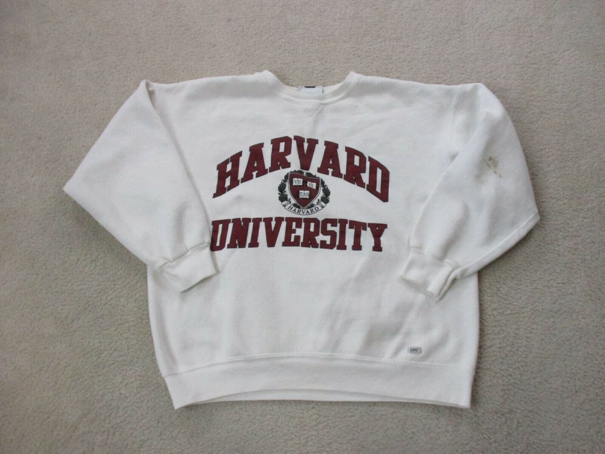 VINTAGE Harvard Crimson Sweater Adult Extra Large White Red Ivy League Mens 90s* 1