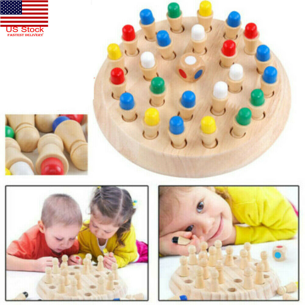 Wooden Memory Match Stick Chess Game Children Kids Puzzle Educational Toys USA 1