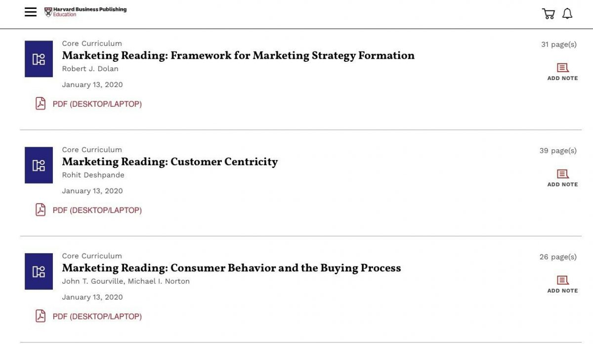 Marketing reading ematerials Harvard Business publishing 1