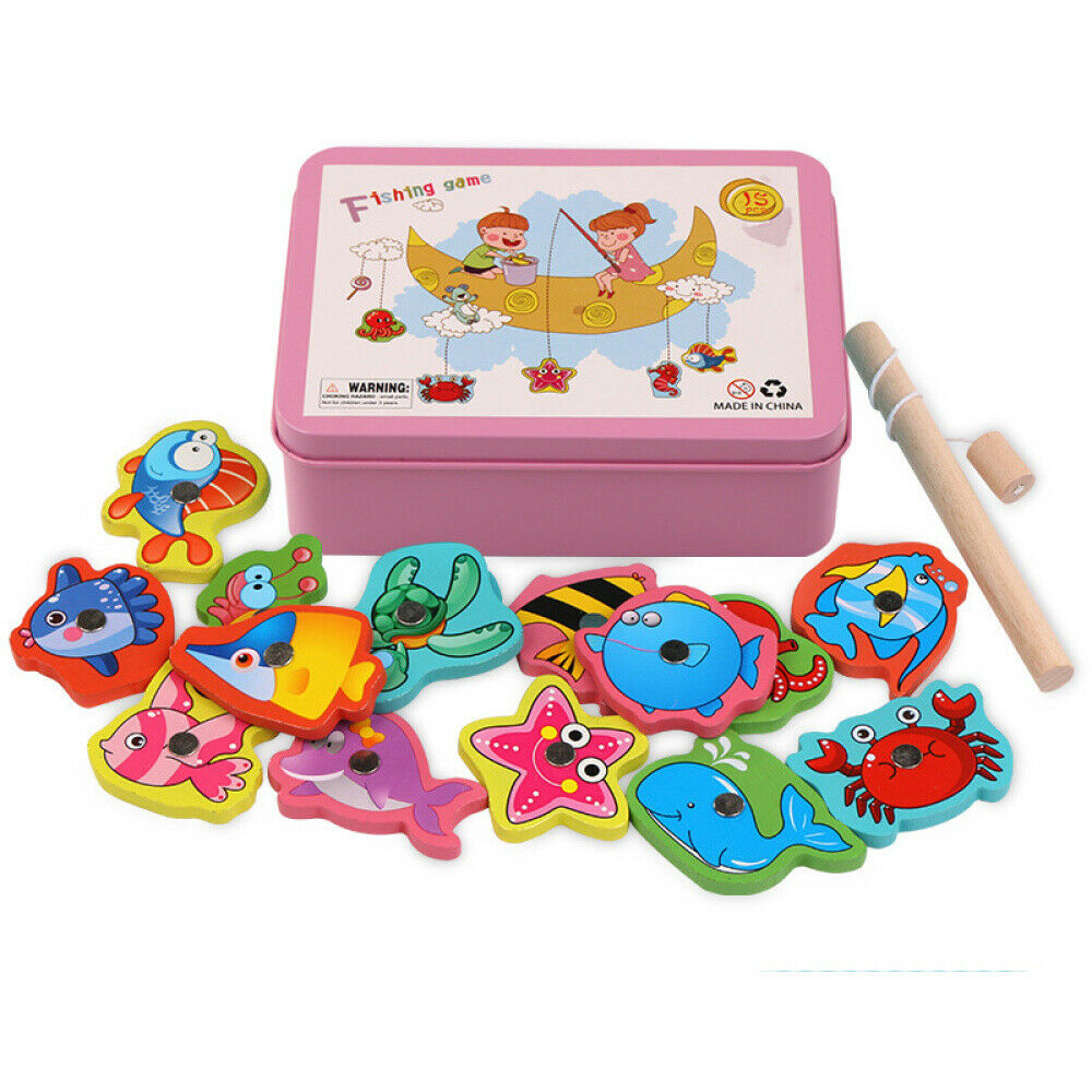 Wooden Children Fish Toys Magnetic Pesca Play Fishing Game Box Educational Toy 1