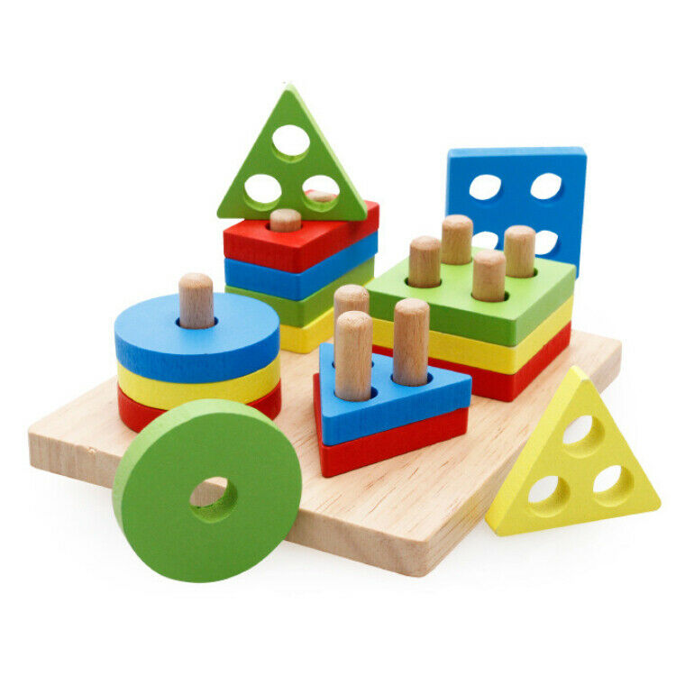 Educational Shapes Kids Toy Puzzle Geometric Shape Wooden Games Christmas Gift 1