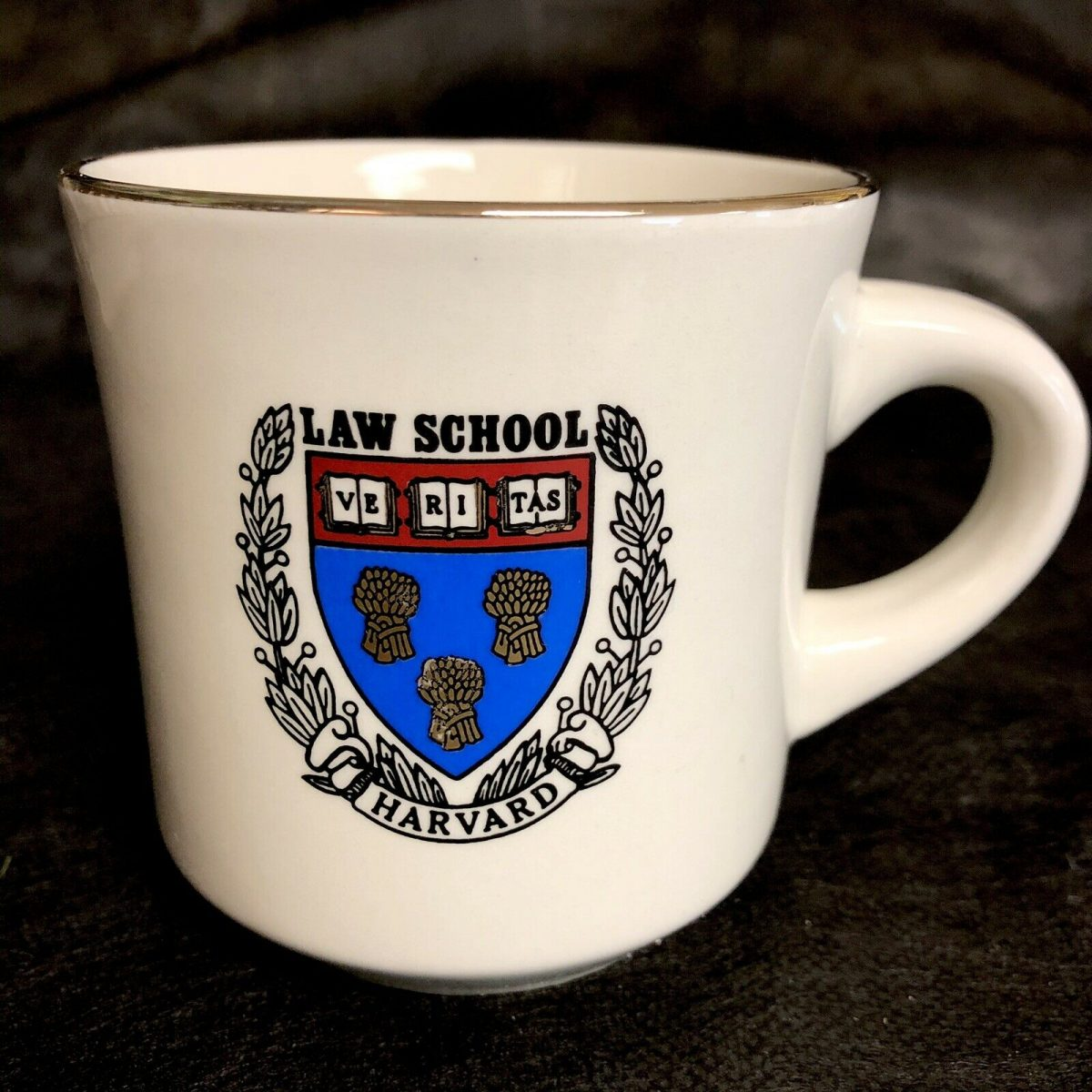 Harvard Law School Coffee Cup Mug 8oz VERITAS Vtg Ceramic Gold Rim 1