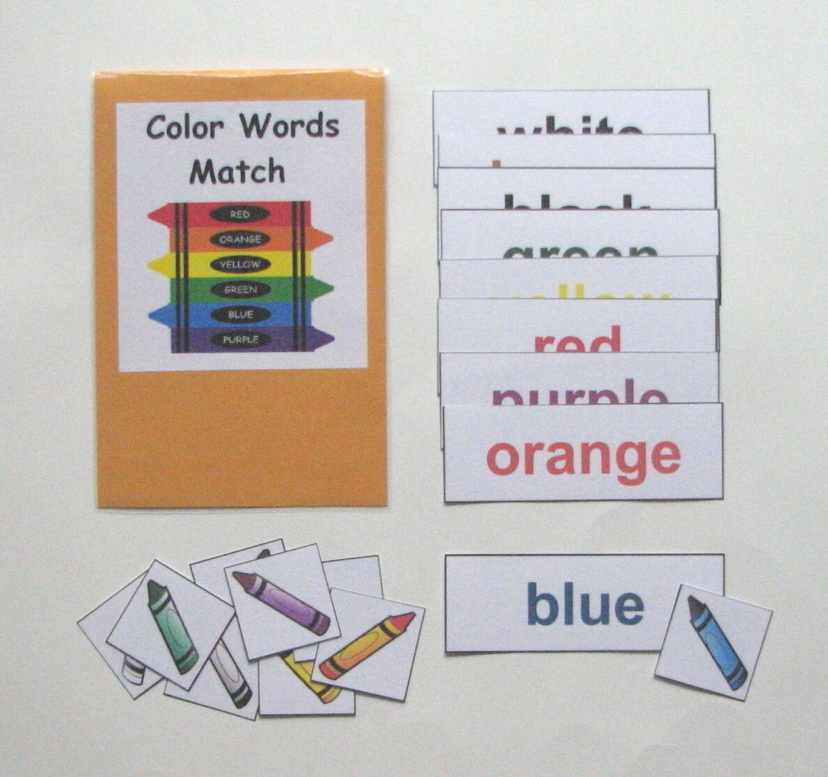 Teacher Made Center Educational Learning Resource Game Color Words Match
