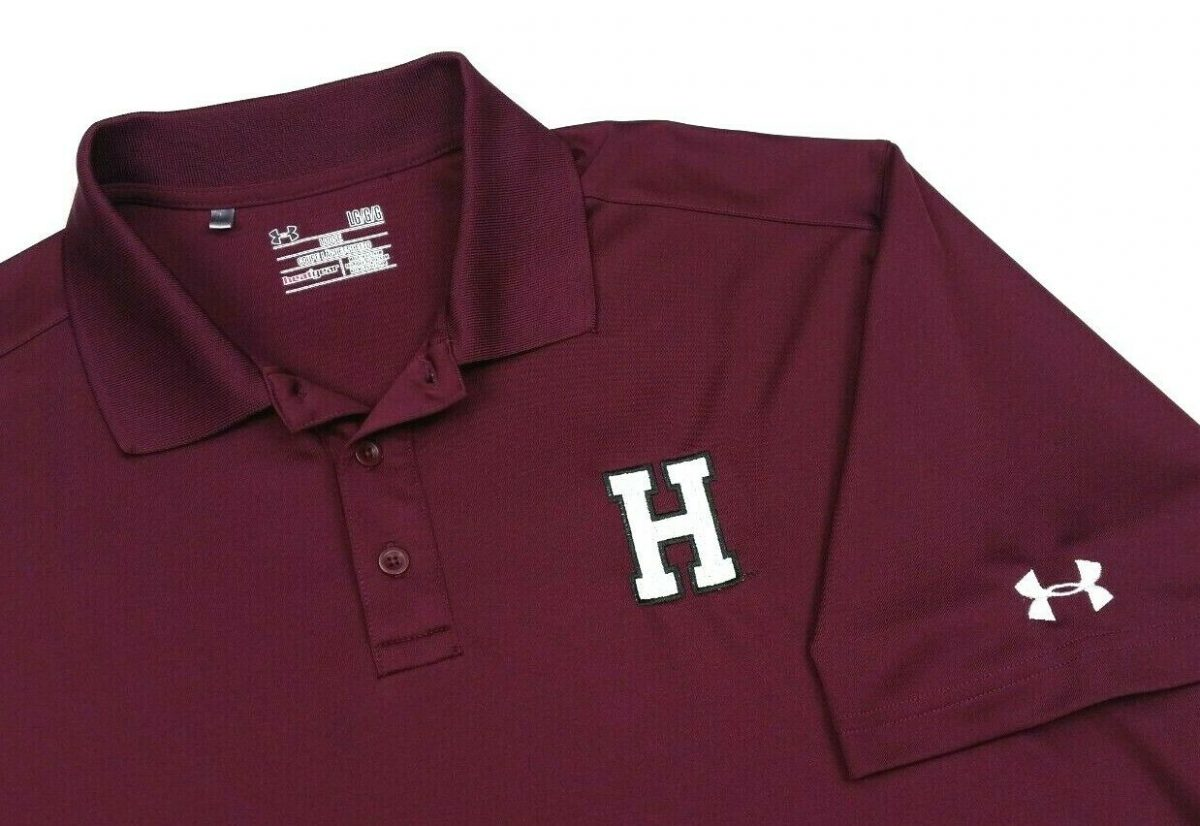 Under Armour Harvard Crimson Solid Red Golf Polo Shirt Large Mens