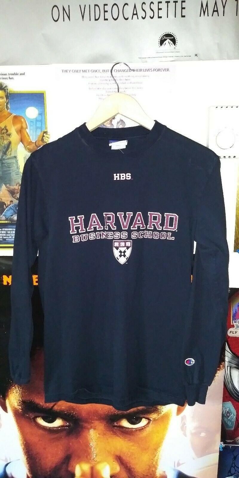 Vtg Champion Brand Harvard University Business School Long Sleeve Shirt Small 1