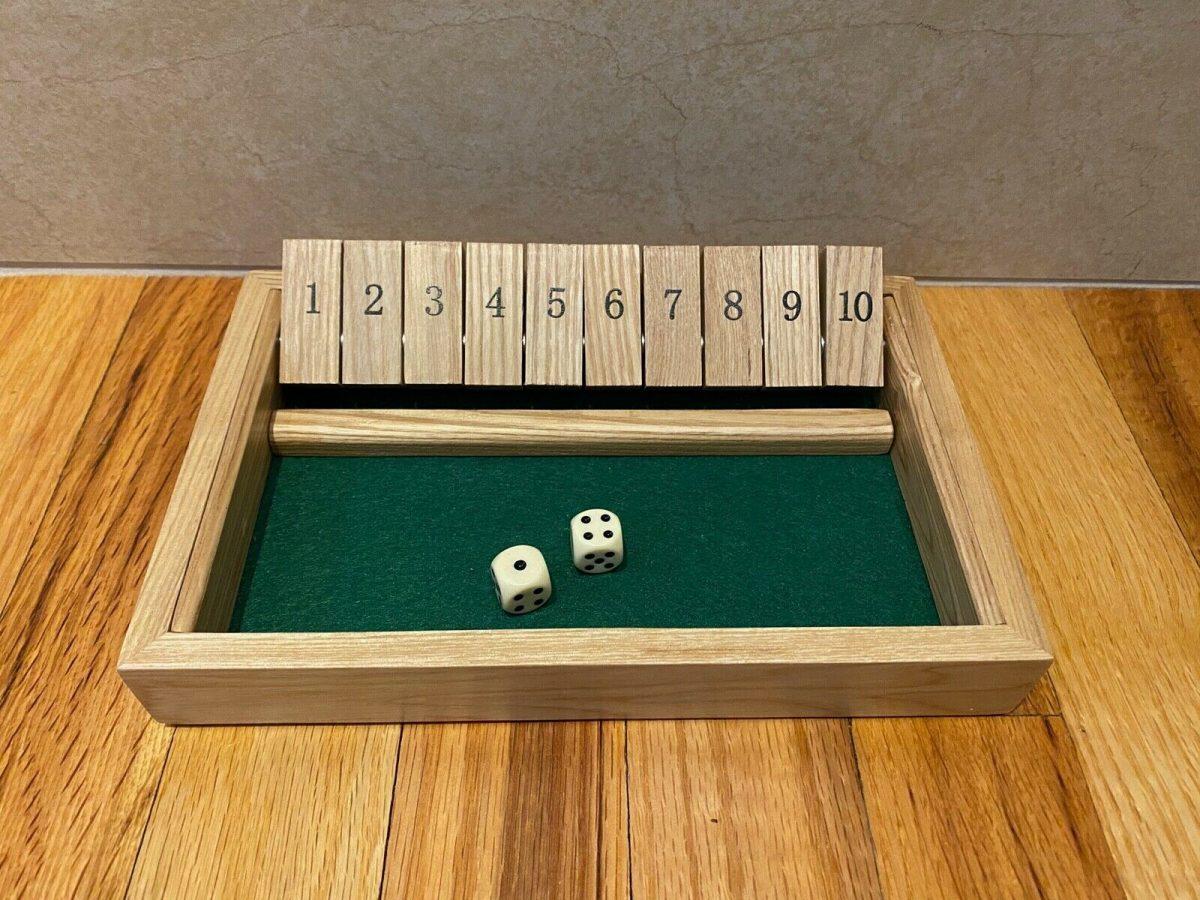 Classic Wooden Shut the Box Educational Dice Game ~ 100% Complete ~ No Box ~ EUC 1