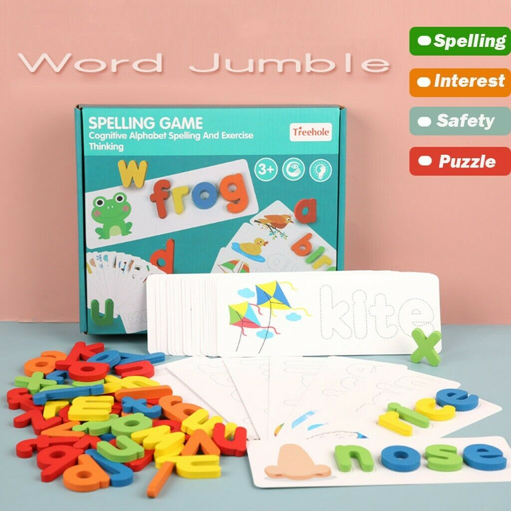 Wooden Cardboard English Spelling Alphabet Game Early Education Educational PAN