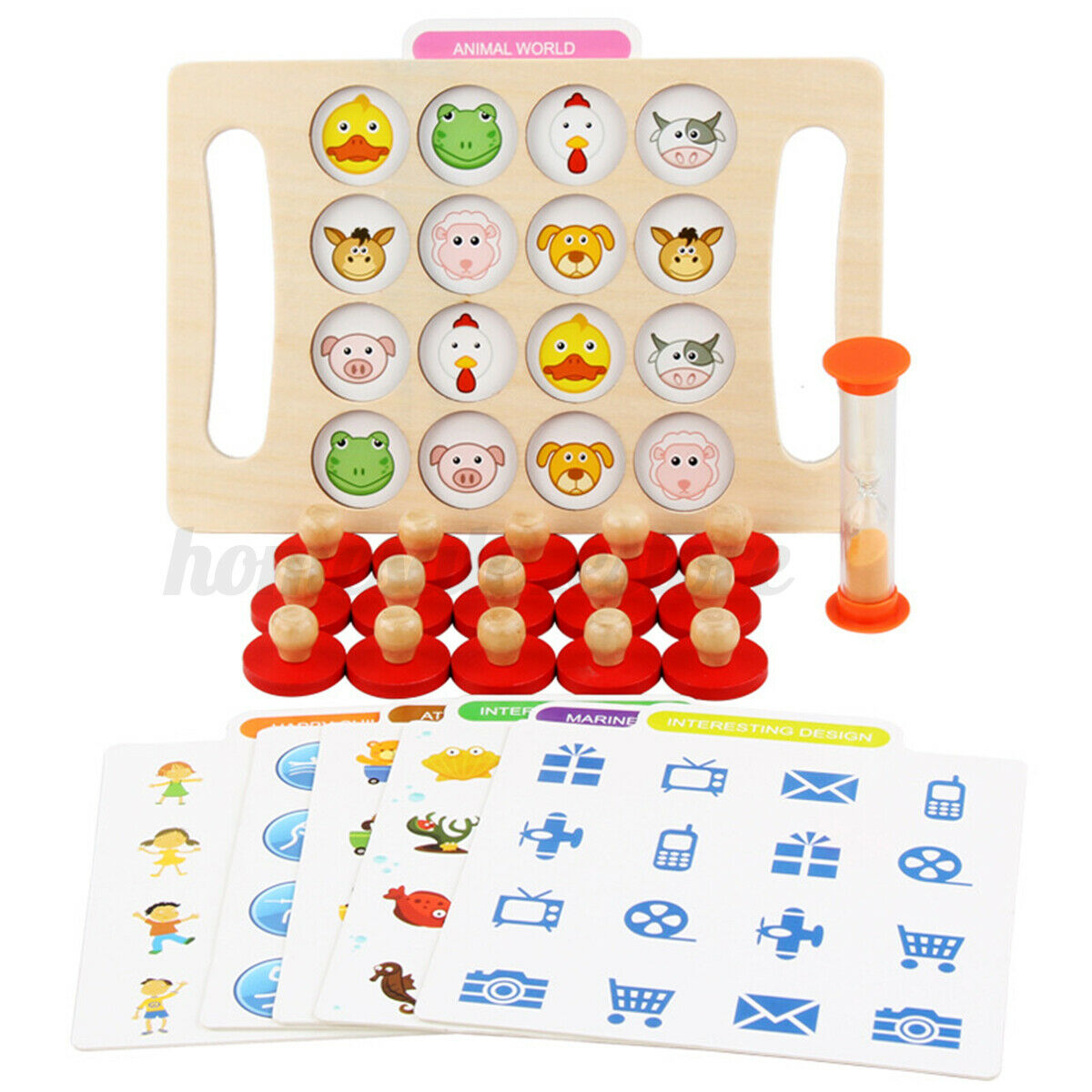 Montessori Memory Chess Teaching Wooden Games Kids Educational Learning Toy